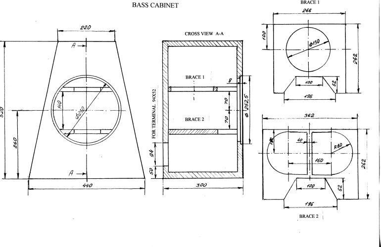 Вот чертежи корпусов басового